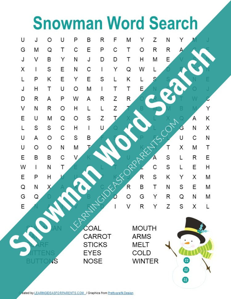 Free printable snowman word search for kids