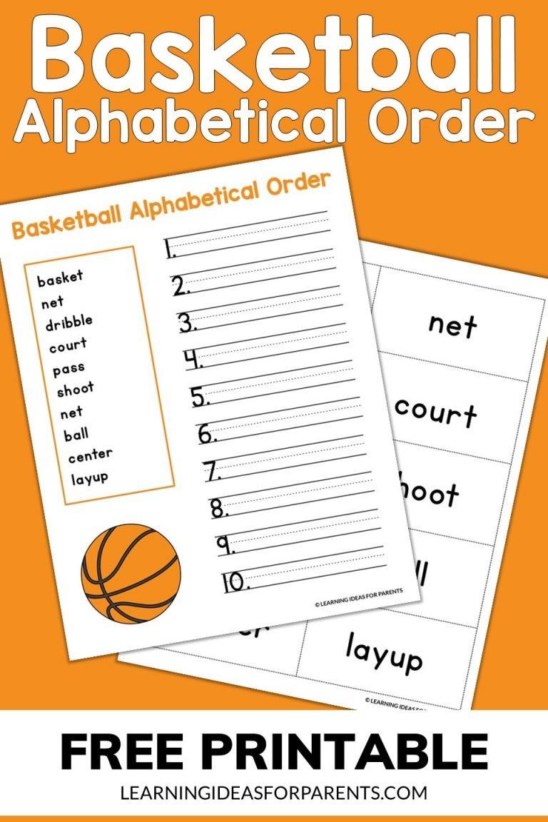 Basketball Alphabetical Order Free Printable