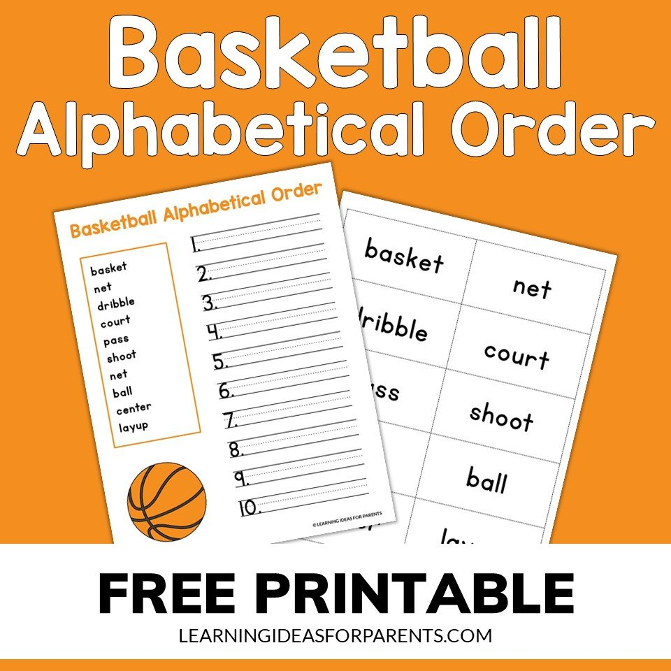 Free printable basketball ABC alphabetical order activity for kids
