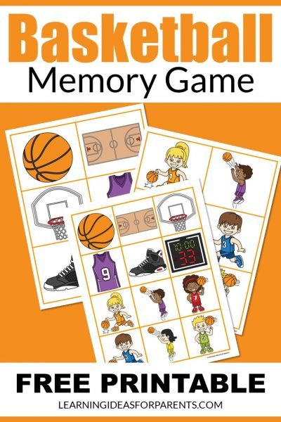 Free printable basketball memory game for kids.