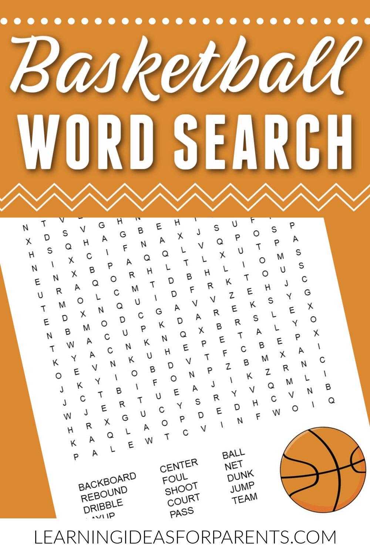 Free Printable Basketball Word Search for Kids