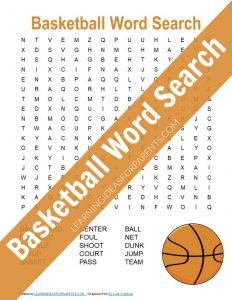 Free printable basketball word search for kids