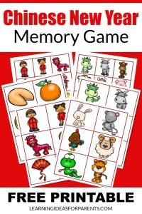 Chinese New Year Memory Game Free Printable for kids