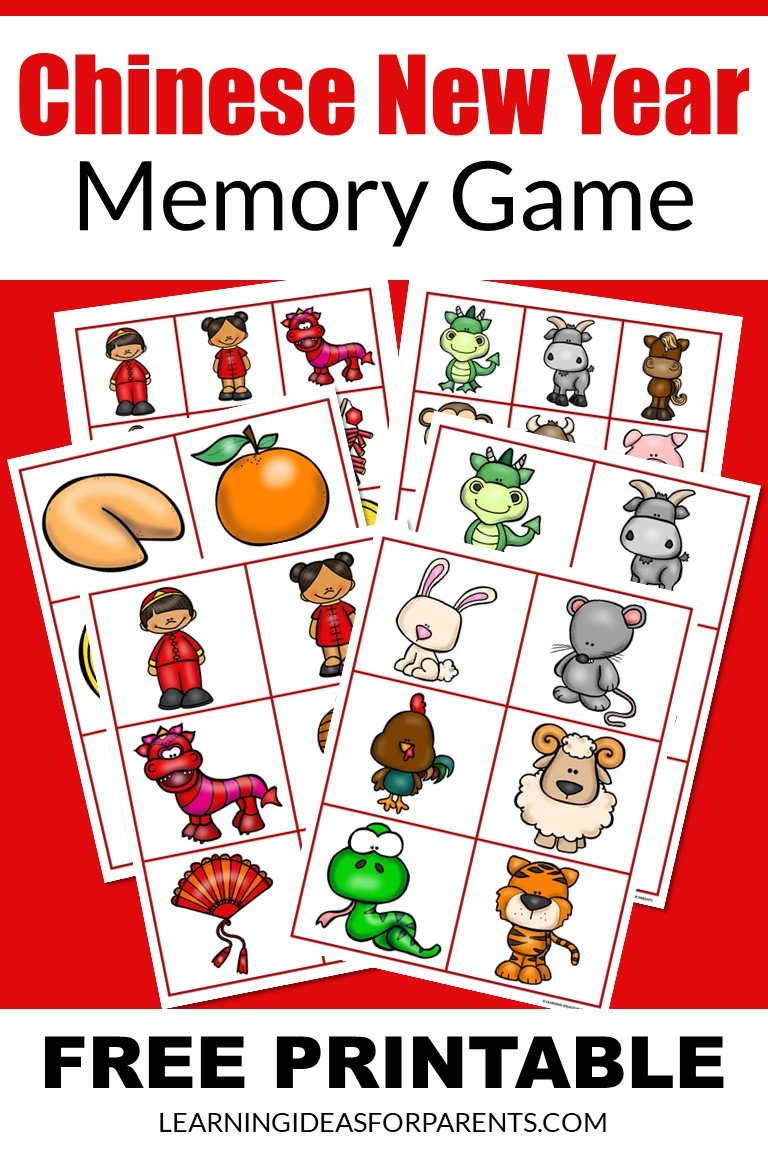 Free printable Chinese New Year memory game for kids