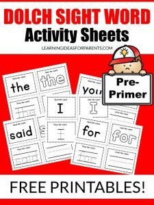 Pre-Primer Dolch Sight Word Activity Sheets