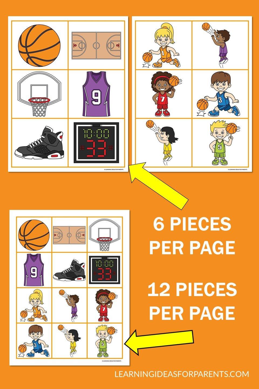 Free printable basketball memory game for kids.