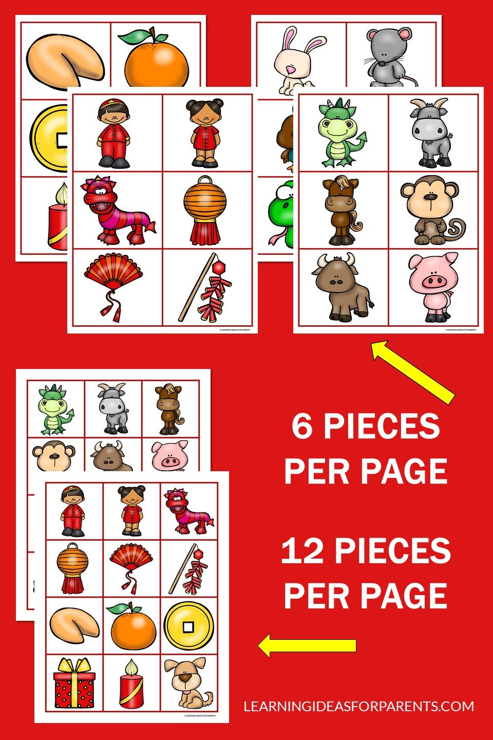 Free printable Lunar New Year memory game for kids