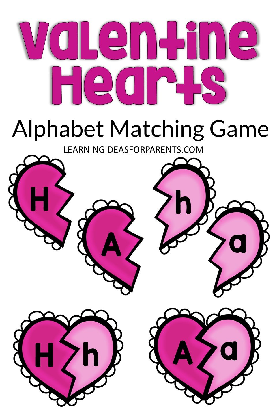 Free printable alphabet matching game with Valentine's Day hearts.