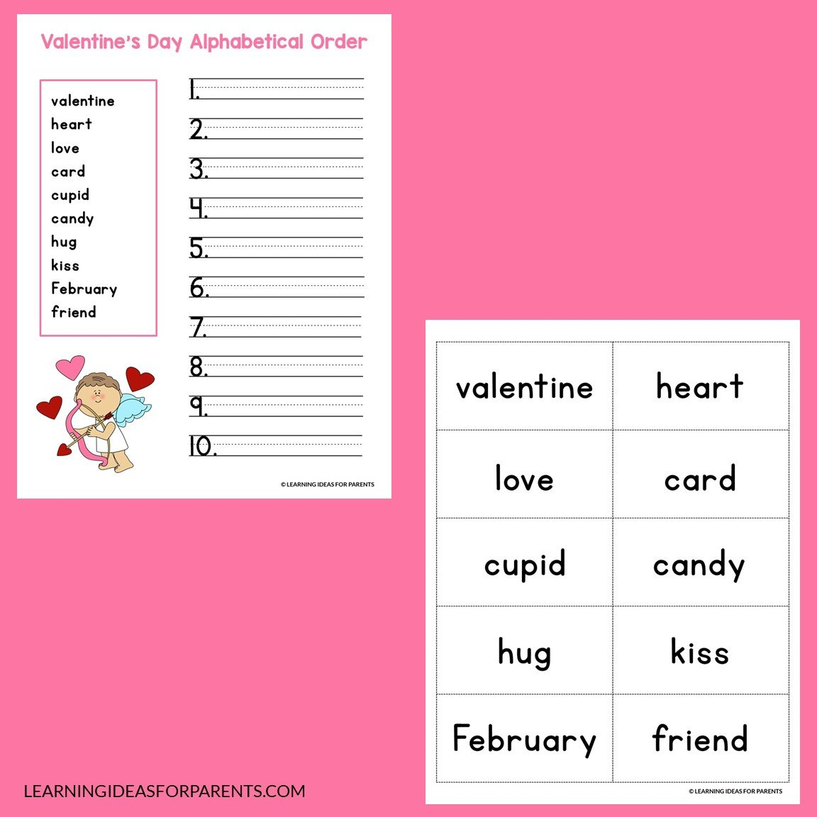 Examples of the Valentine's Day alphabetical order printable activity