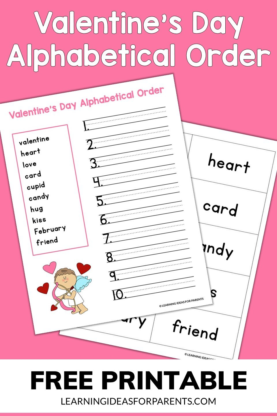 Free printable Valentine's Day alphabetical order activity