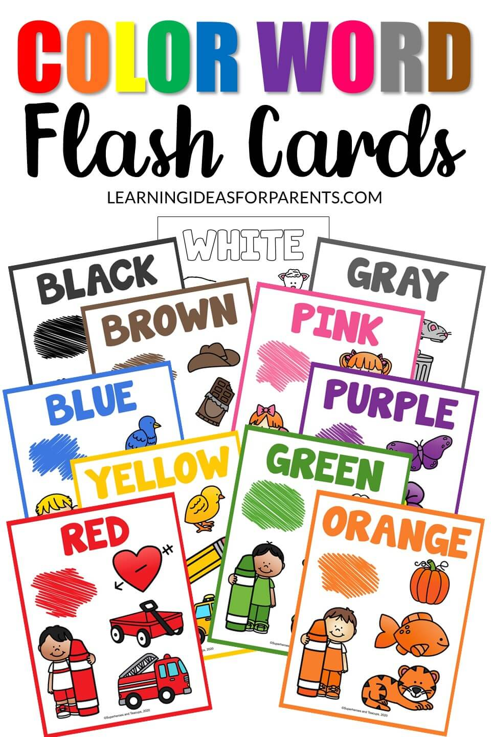 Free printable color word flash cards