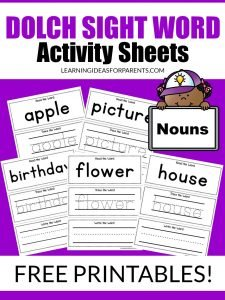 Free printable nouns Dolch sight word activity sheets