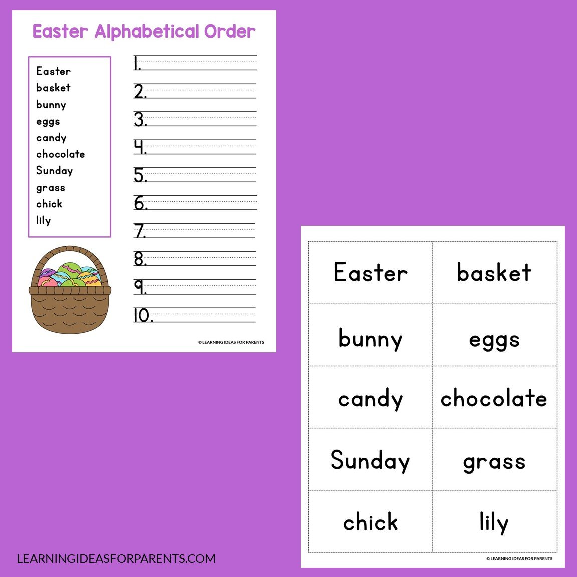 Free printable Easter alphabetical order activity