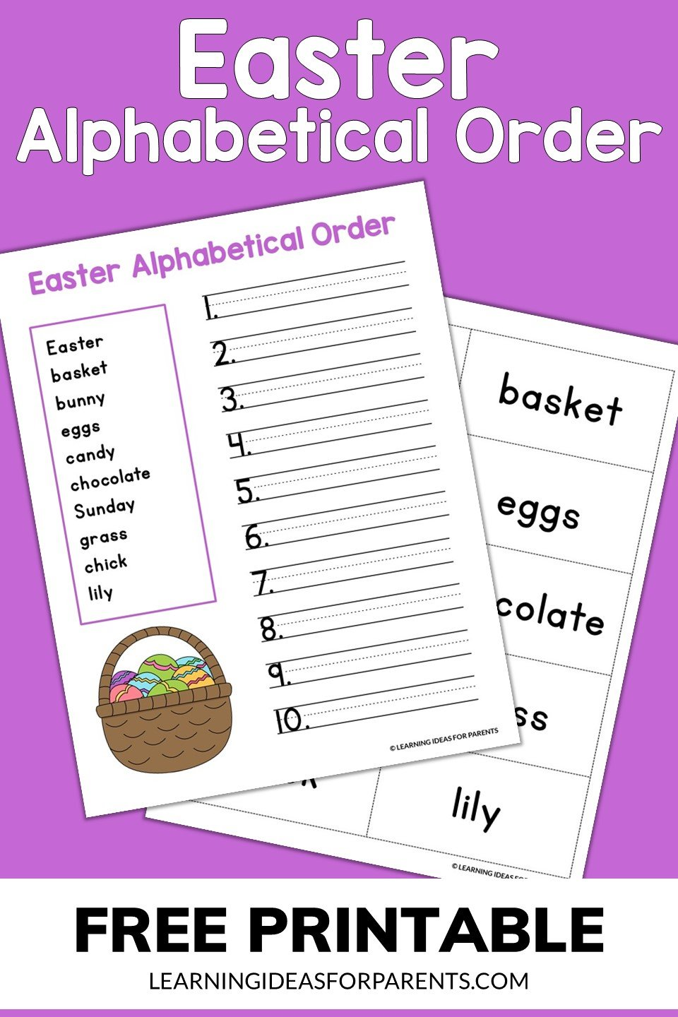 Free printable Easter alphabetical order activity.
