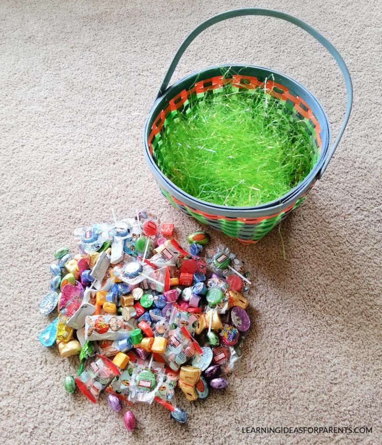 Easter candy and Easter basket for learning activities.