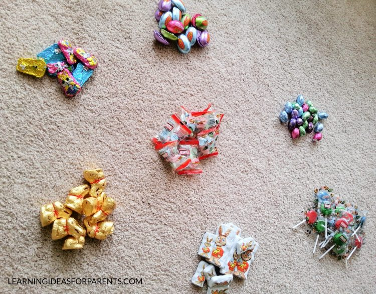 Easter candy sorted by type for learning activity.