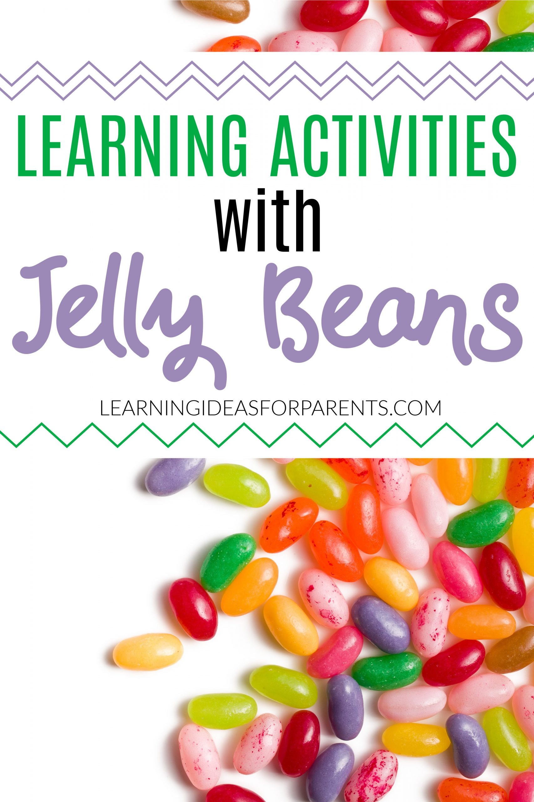 Colorful jelly beans for learning activities.