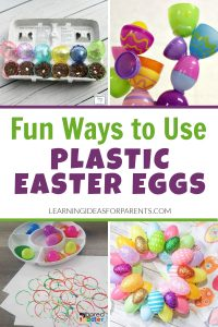 Craft activities and learning activities with plastic Easter eggs.