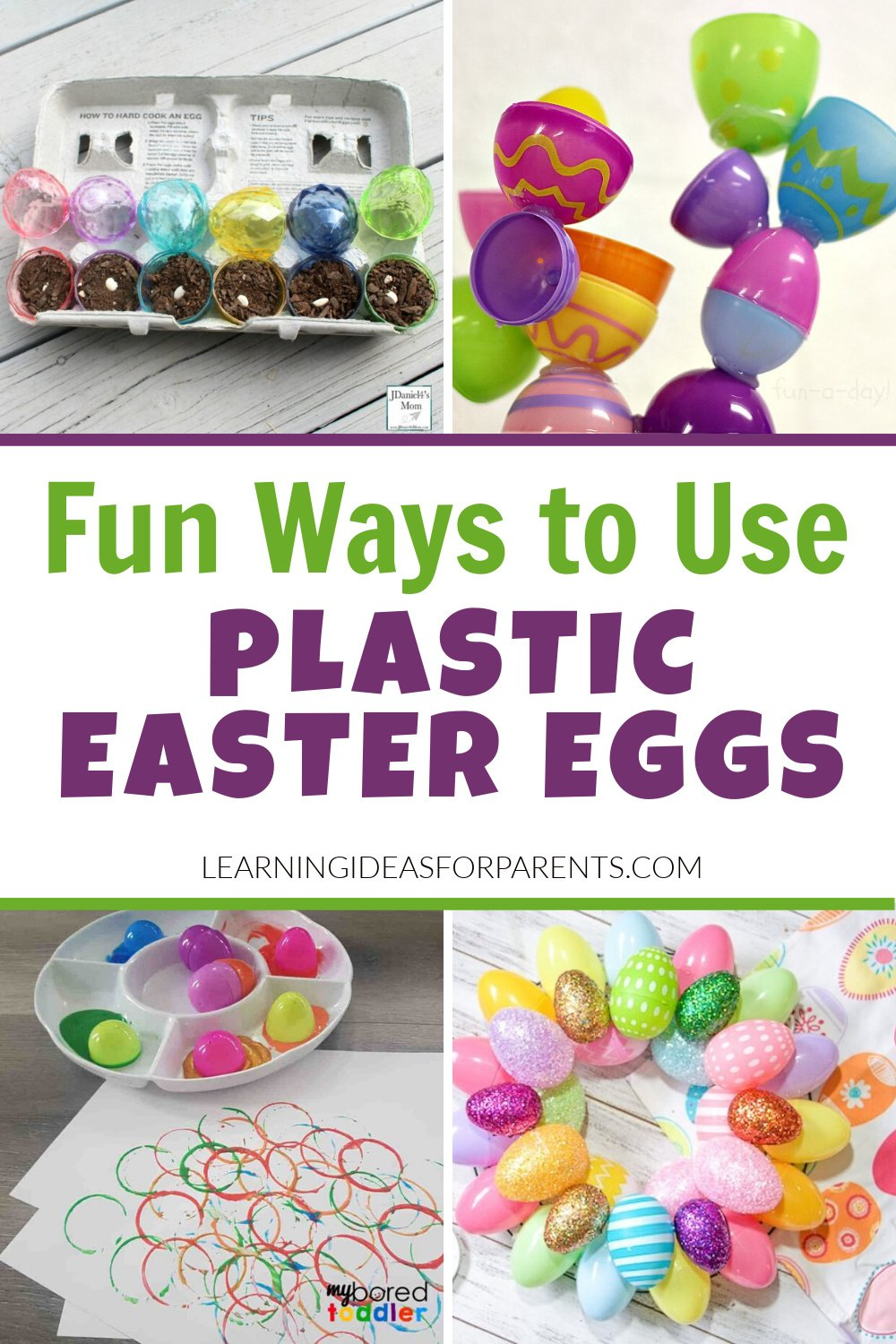 Fun craft activities and learning activities using plastic Easter eggs.