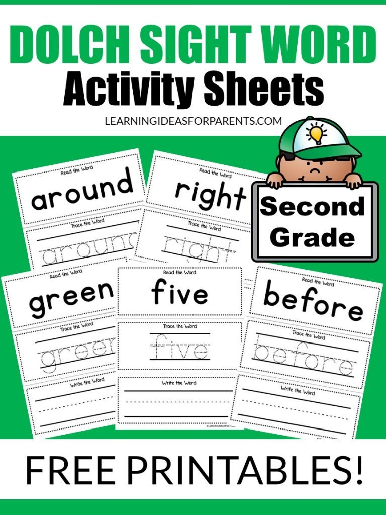 Free printable second grade Dolch sight word activity sheets