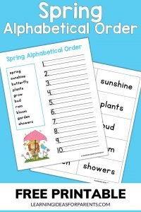 Free printable spring alphabetical order activity.