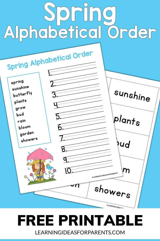 Free printable spring alphabetical order activity.