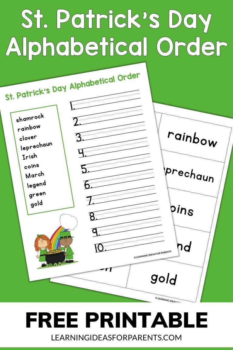 St. Patrick's Day Alphabetical Order Free Printable
