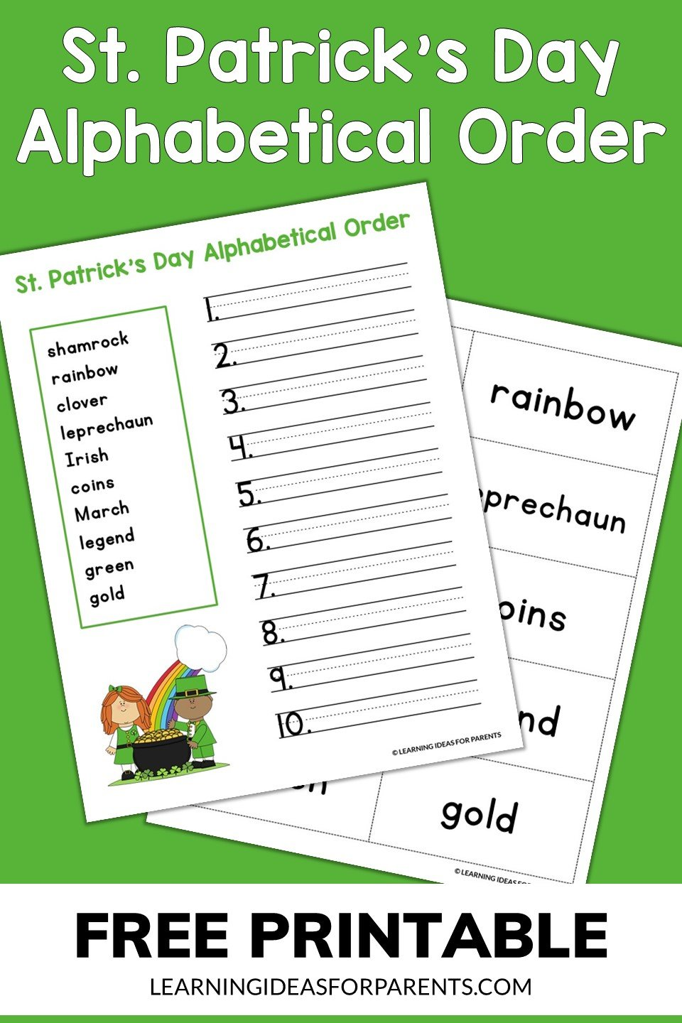 Free printable St. Patrick's Day alphabetical order activity