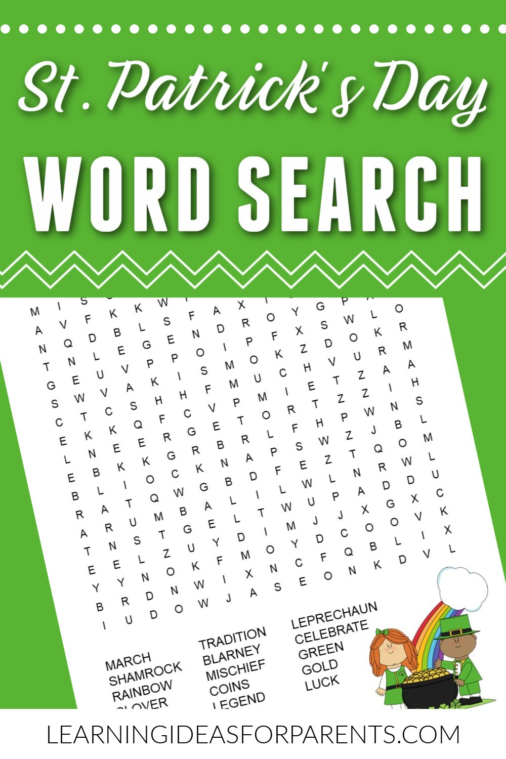 Free printable St. Patrick's Day word search for kids