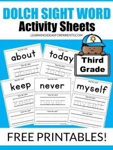 Free printable third grade Dolch sight word activity sheets.