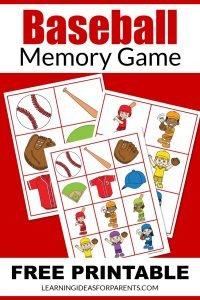 Free printable baseball memory game for kids.