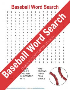 Free printable baseball word search for kids