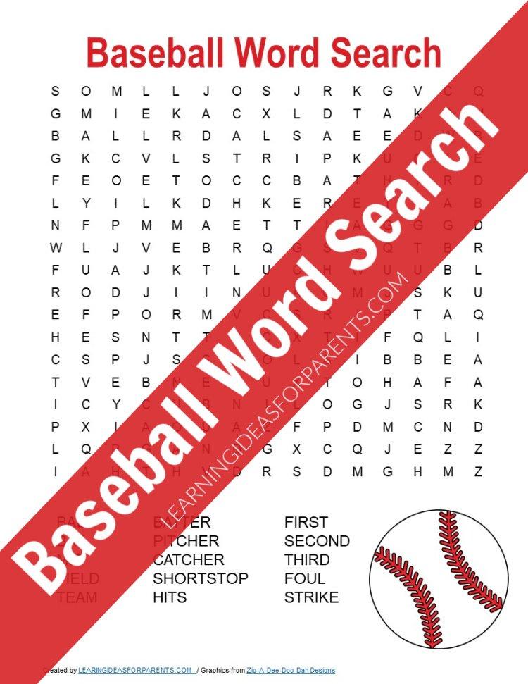 Baseball Word Search Free Printable