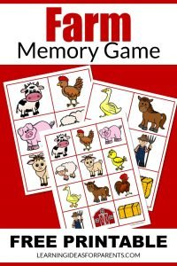 Free printable farm memory game for kids.