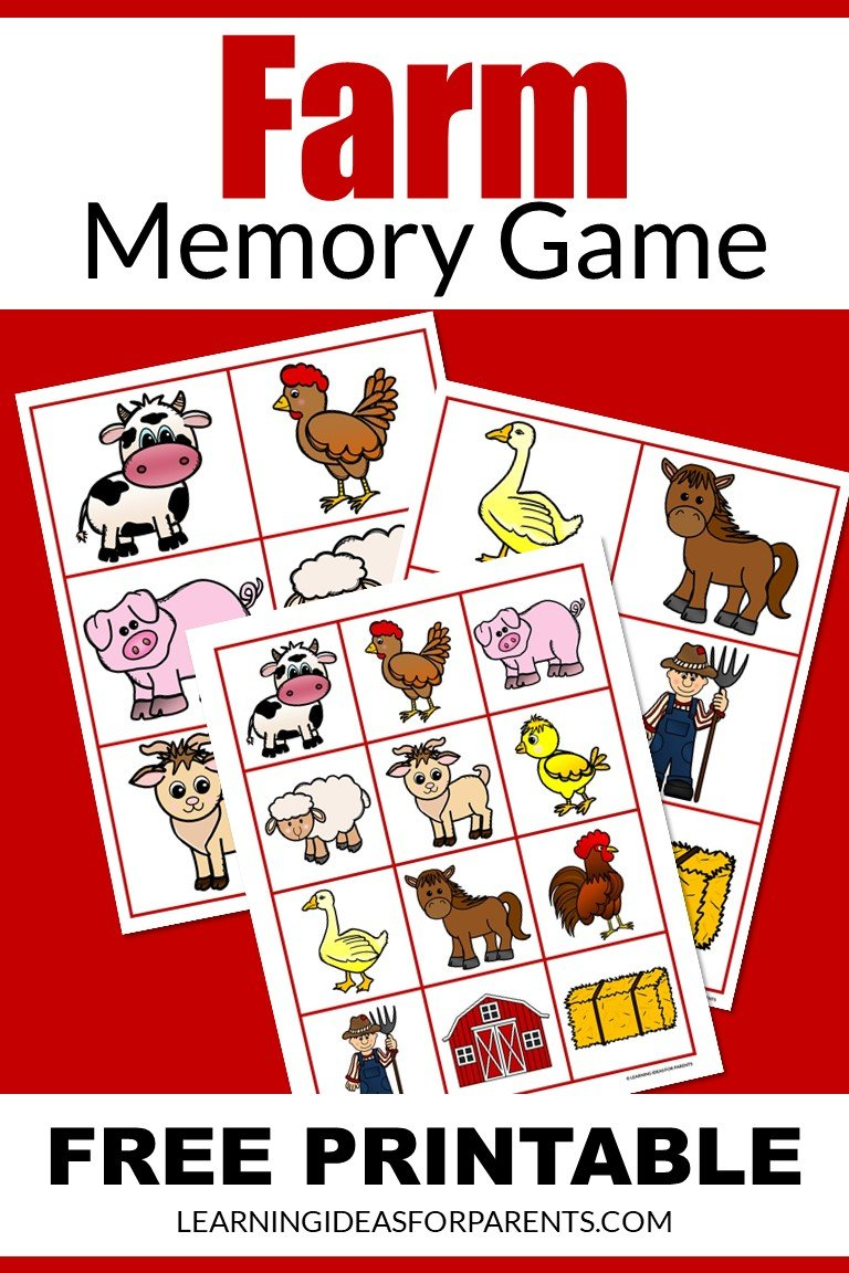 Free printable farm memory game for kids.