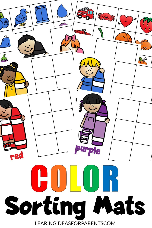 Free printable color sorting mats for kids.