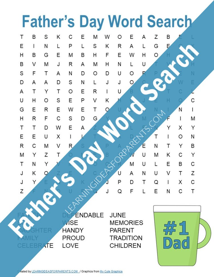 Free printable Father's Day word search for kids.