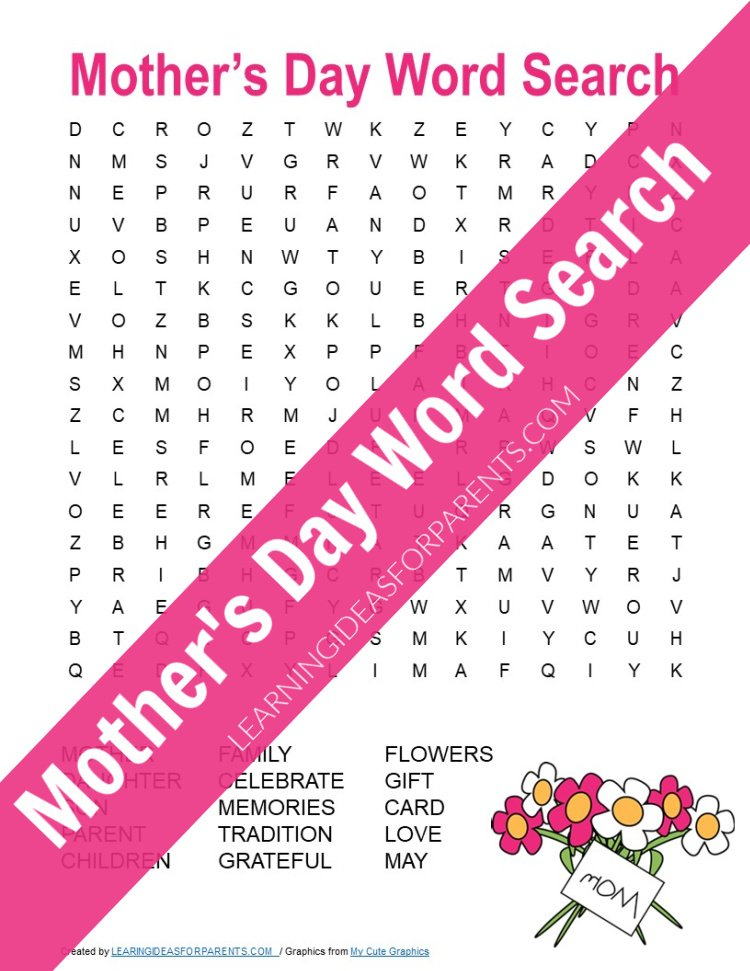 Free printable Mother's Day word search for kids.