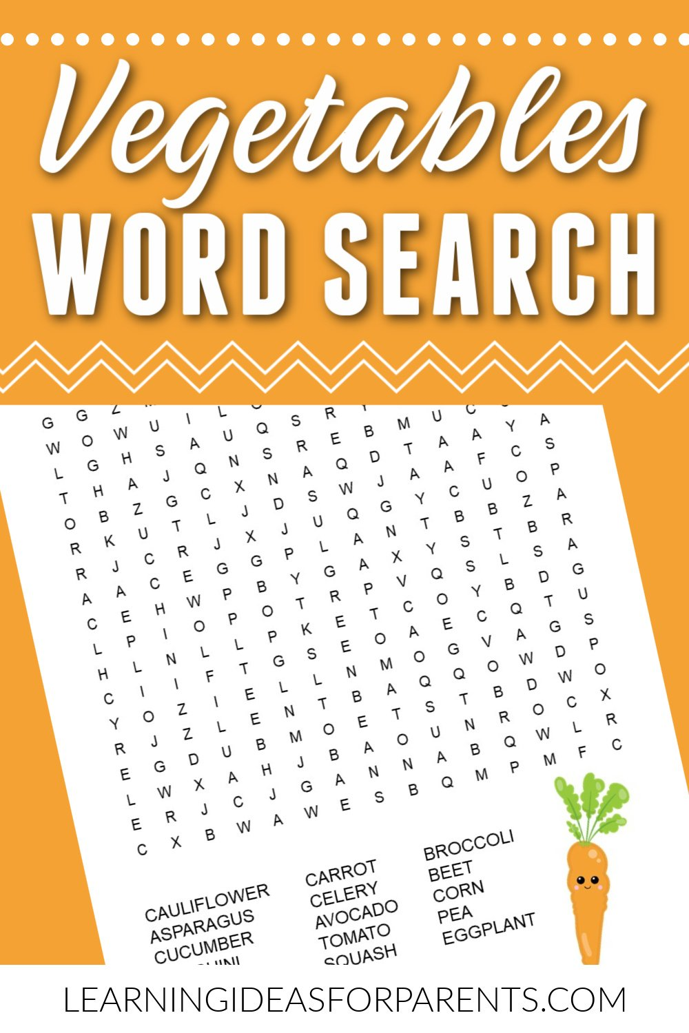 Free printable vegetables word search for kids.