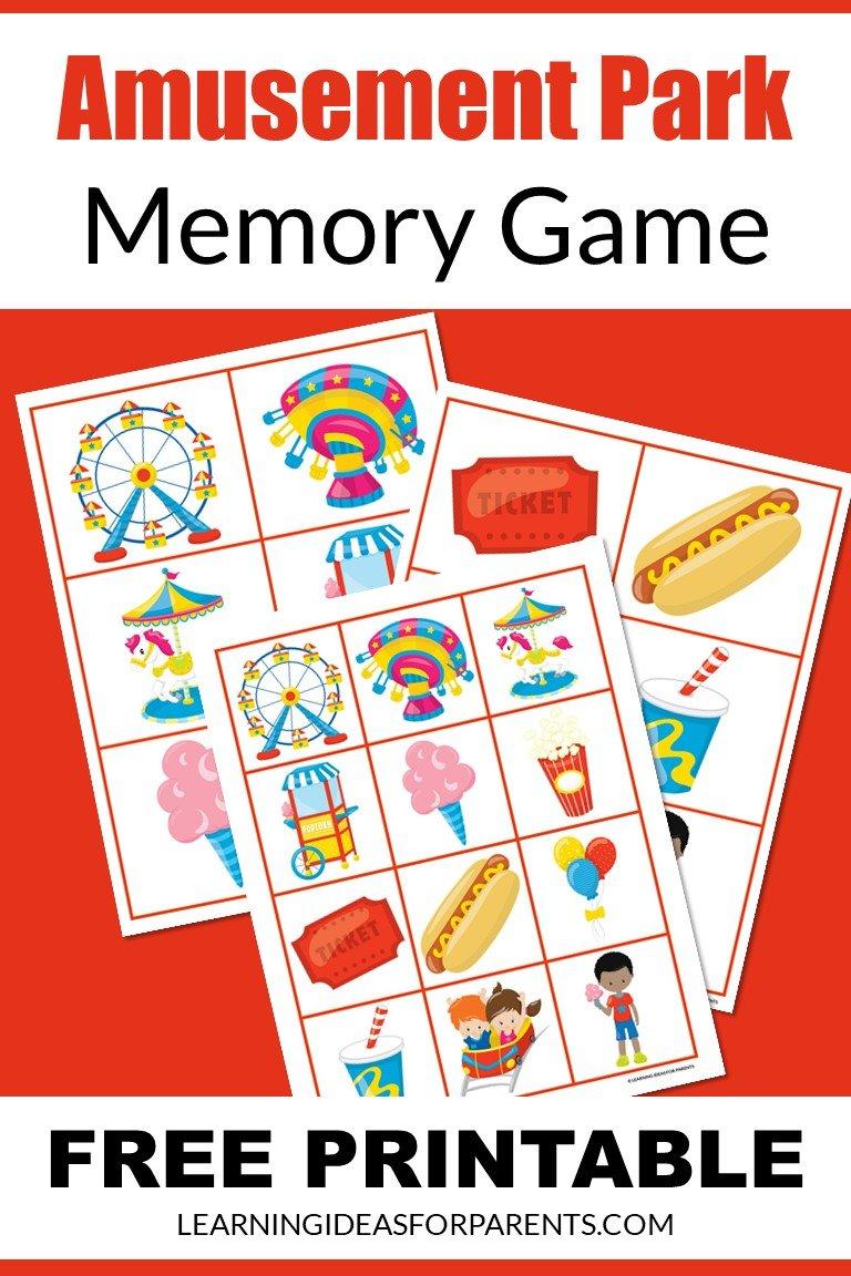 Free printable amusement park memory game for kids.