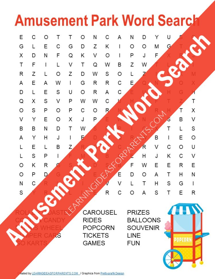 Free printable amusement park word search for kids.