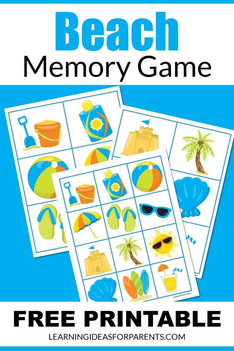 Free printable beach memory game for kids.