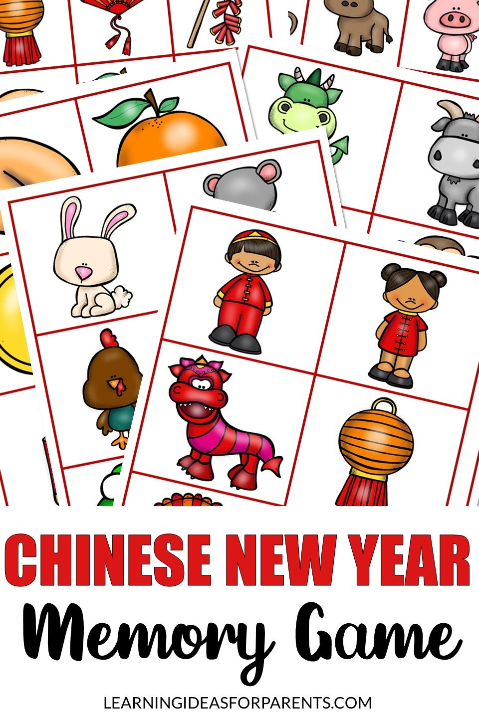 Free printable Chinese New Year memory game for kids.