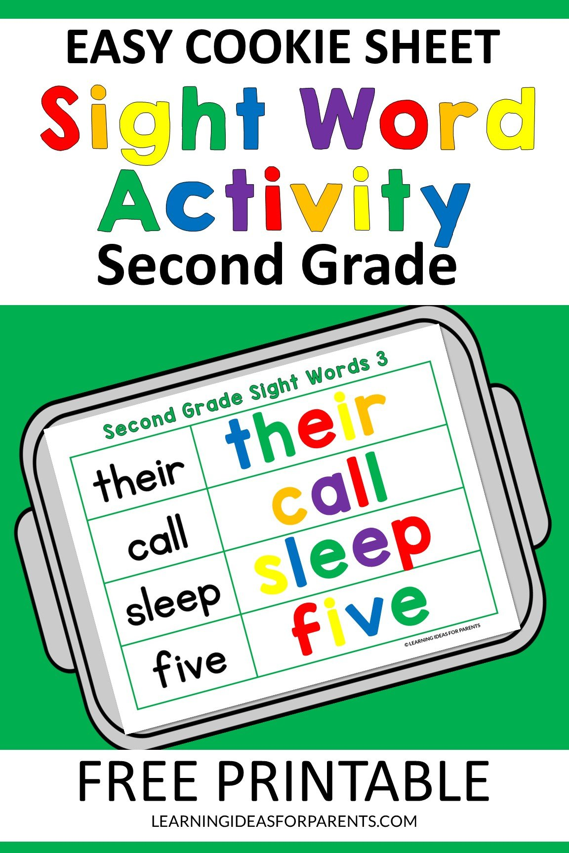 Free printable easy cookie sheet second grade sight word activitiy.