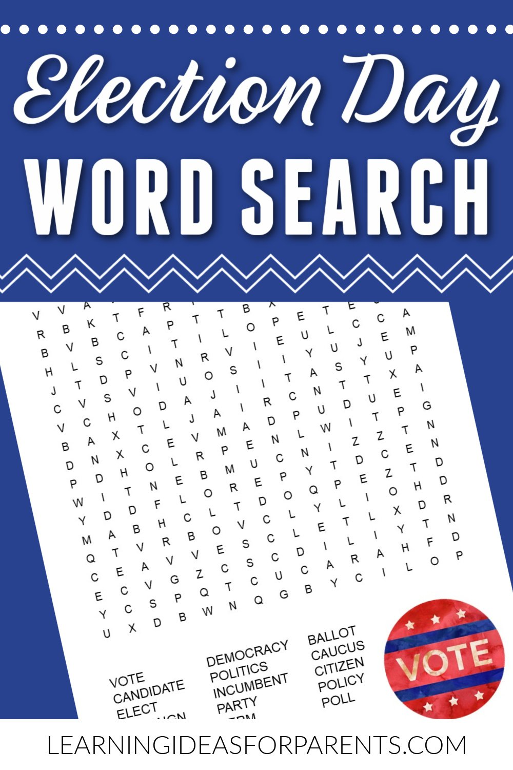 Free printable Election Day word search for kids.