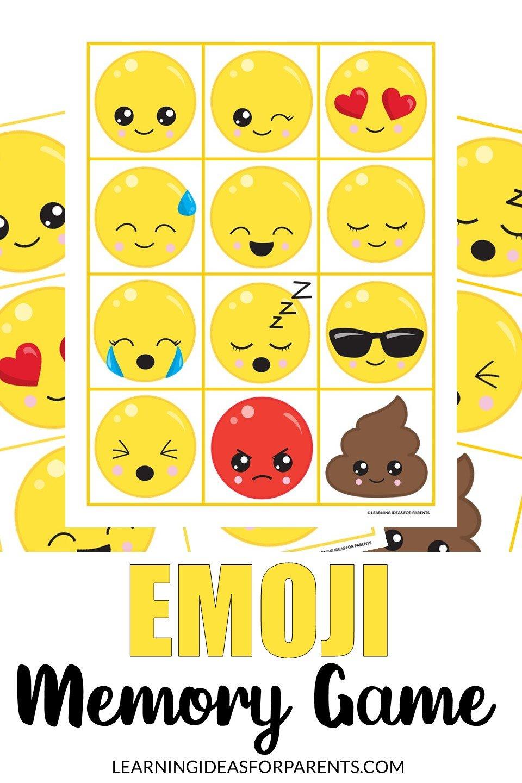 Free printable emoji memory game for kids.