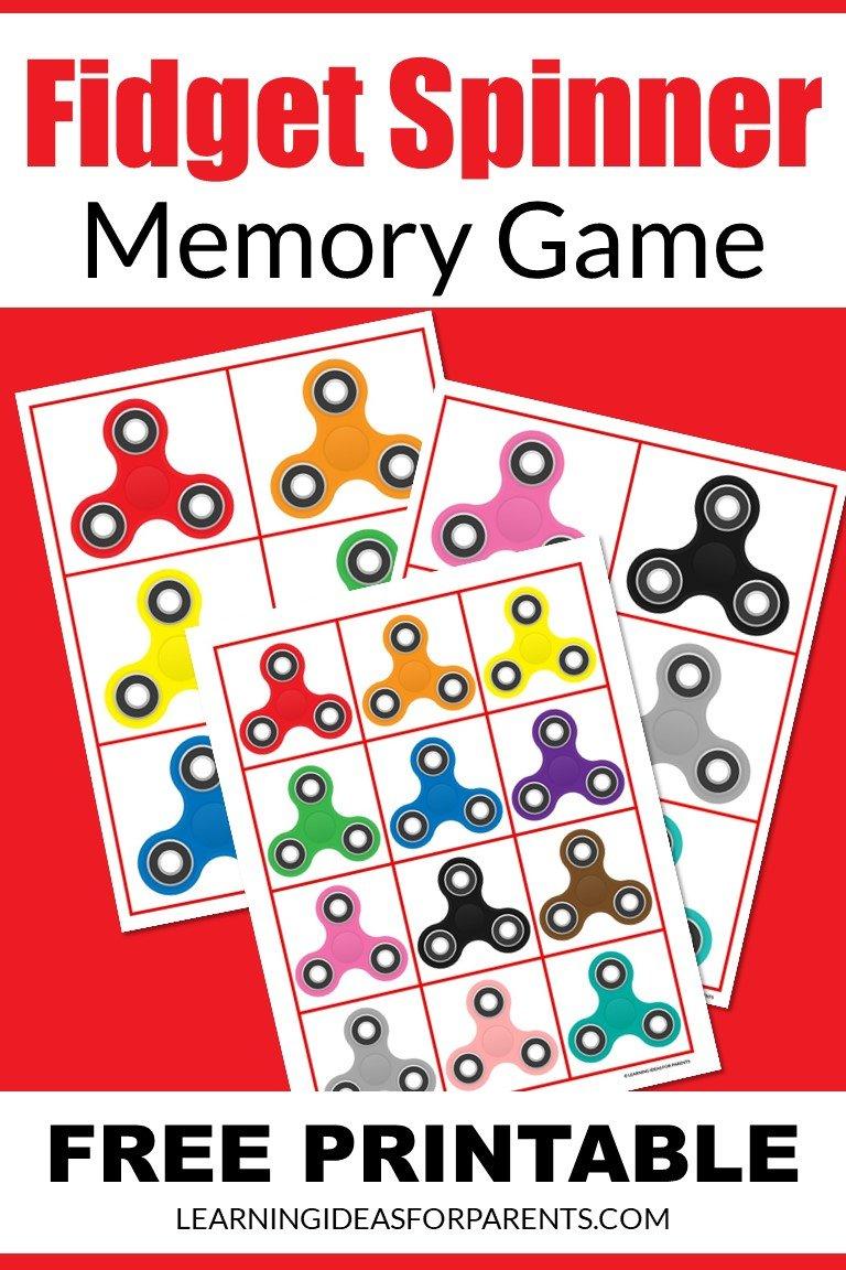 Free printable fidget spinner memory game for kids.