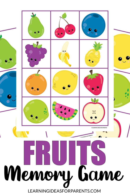 Free printable fruits memory game for kids.