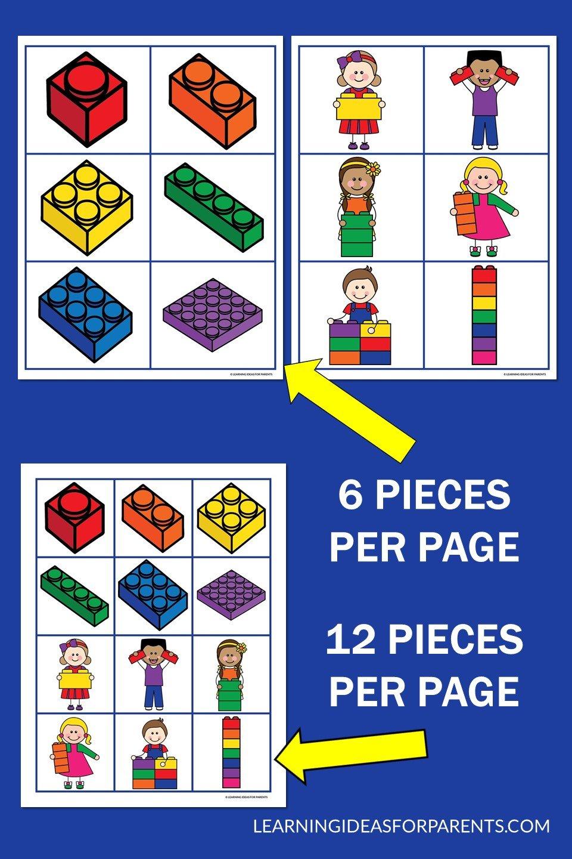 Free printable LEGO memory game for kids.