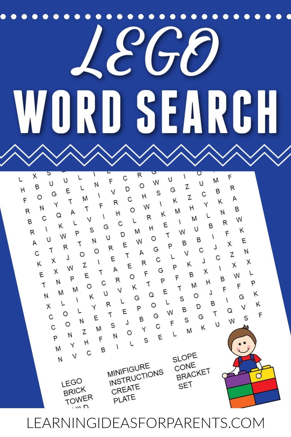 Free printable LEGO word search for kids.